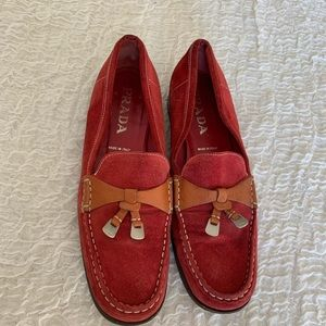 Prada Red Loafer with Brown and Metal Tassels 38.5